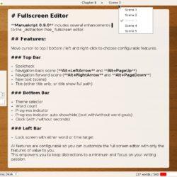 Manuskript with all fullscreen editor features shown