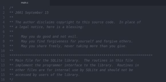 Fichier entêtre de SQLite et bénédiction